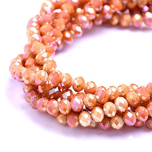 BeadsOne 8mm - 72 pcs - Glass Rondelle Faceted Beads Burnt Dark AB Orange for jewerly Making findings Handmade jewerly briolette Loose Beads Spacer Donut Faceted Top Quality 5040 (AB D064)