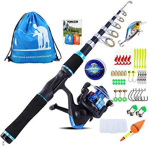 YONGZHI Kids Fishing Pole with Spinning Reels,Telescopic Fishing Rod,Shoulder Pocket,Full Kits Tackle Box for Travel Freshwater Bass Trout Fishing-Blue