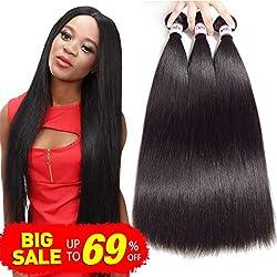 Bestsojoy Brazilian Straight Hair 3 Bundles 8A Virgin Brazilian Human Hair Extensions Natural Black Color (10 12 14)