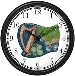 Icon of Ireland - Harp, Shamrock, Emerald Isle Irish or Celtic Theme Wall Clock by WatchBuddy Timepieces (Hunter Green Frame)
