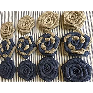 Set of 12 Burlap Flowers Navy and Natural Rustic Wedding Cake Topper Baby Boy Shower Party Reception Table 2