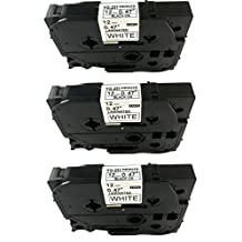 ACD.auto 3PK Black on White Label Tape Compatible for Brother TZ TZe 231 TZ-231 TZe-231 P-Touch 12mmx8m