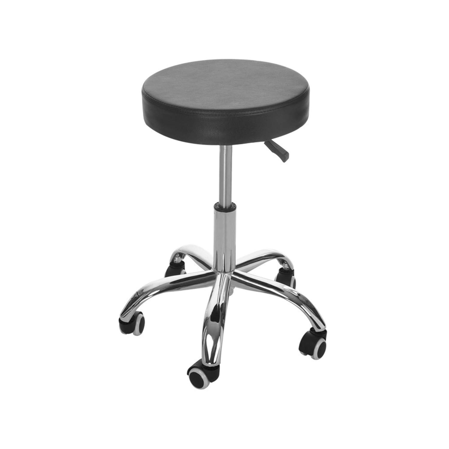 Salon Stool Office Chair, Round Rolling Stool PU Leather Height Adjustable Swivel Drafting Work SPA Medical Stools Chair with Wheels Black
