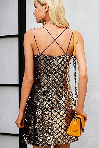 ... Huixin Paillettenkleid Damen Kurz Elegant Vintage Glitter Festliche  Kleider Cocktailkleid Ärmellos V-Ausschnitt Sling Rückenfrei ... c28790a98d