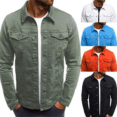 Realdo Mens Denim Jacket, Clearance Sale Men's Solid Color Vintage Button Tops Coat with Pocket