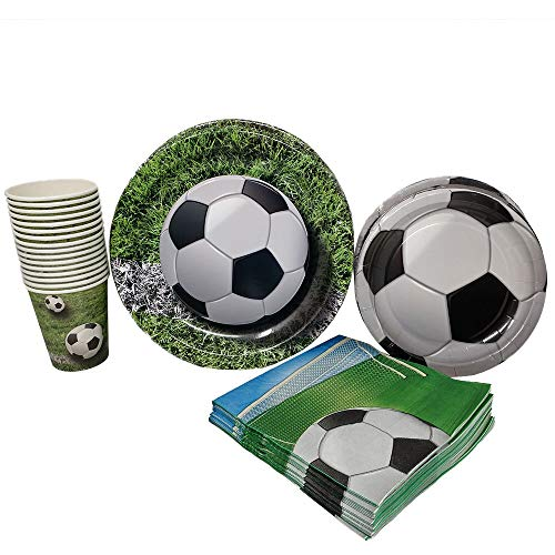 Soccer Themed Party (Soccer Party Supplies (65+ Pieces for 16 Guests!), Soccer Birthday Party Kit, Futbol Tableware Decorations, Party)