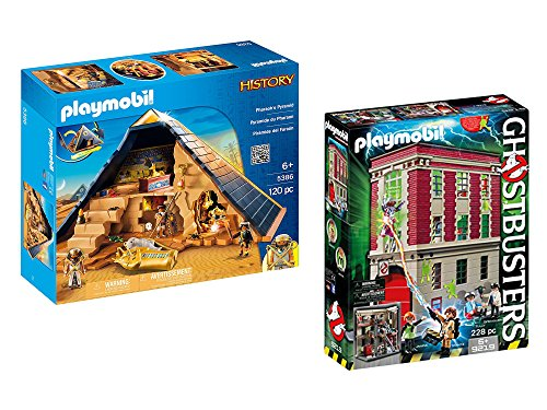 PLAYMOBIL Pharaoh's Pyramid and PLAYMOBIL Ghostbusters Firehouse bundled by Maven Gifts by PM