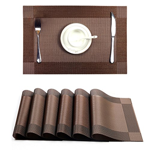 DaCool Table Placement, Table Mats set of 6 Non-slip Insulation Waterproof Heat-resistant Rectangle PVA Mats for Kitchen Dining Pad for Plate Dishes, Coffee