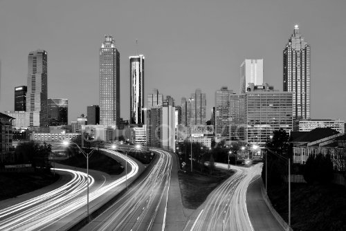 Atlanta Skyline DAWN Black White BW Downtown City CHOOSE FROM TWO SIZES Photographic Panorama Poster Print Photo Picture Standard Size