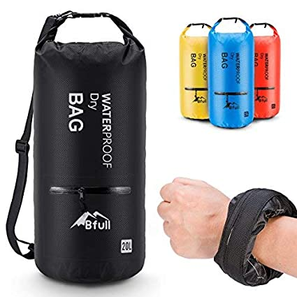 Buy BFULL Waterproof Dry Bag 10L/20L [Lightweight Compact] Roll Top Water Proof Backpack 2 Exterior Zip Pocket Kayaking, Boating, Duffle, Camping, Floating, Rafting, Fishing (Black, 10L) at Amazon.in