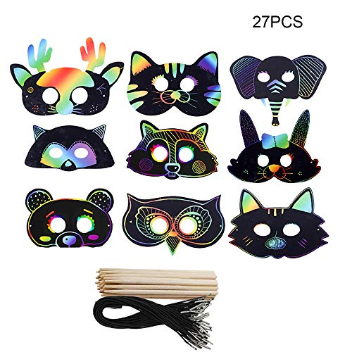 Liangxiang Scratch Art Masks for Kids, 27 Sets Scratch Paper Animal Masks Scratch Rainbow Masks with Elastic Cords and Wood Stylus for Costume Dress up Parties Decorations