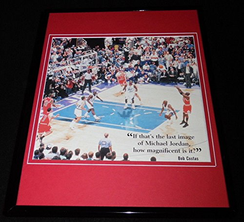 1998 Nba Finals Framed (Michael Jordan Last Shot 1998 NBA Finals Framed 11x14 Photo Display Bulls)