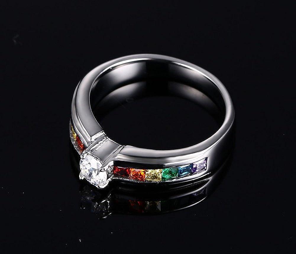 Womens Lesbian Pride Rainbow CZ Pave Set LGBT Jewelry Wedding Band Ring