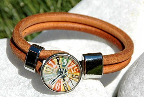 Brown Leather Halskette Snap Jewelry Ginger Snaps Jewelry Interchangeable Snap Bracelet Popper Snap Chunk Noosa Style Clock Snap Charm. Snap Included.