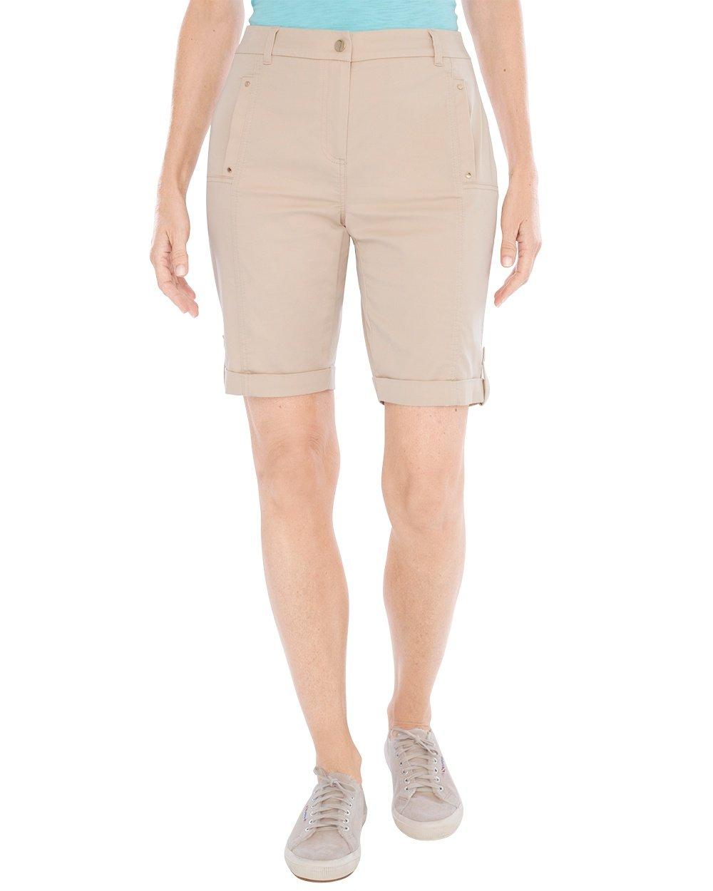 Chico's Women's Comfort Waist Utility Shorts- 10 inch Inseam Size 10 M (1.5) Tan