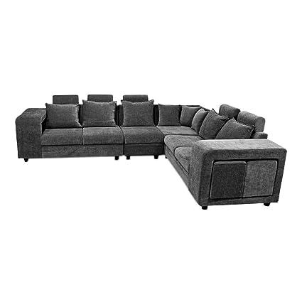 sale retailer d4b57 92f3a PRIMROSE Amanda Molfino 5 Seater+Corner Sofa Set - Dark Grey ...