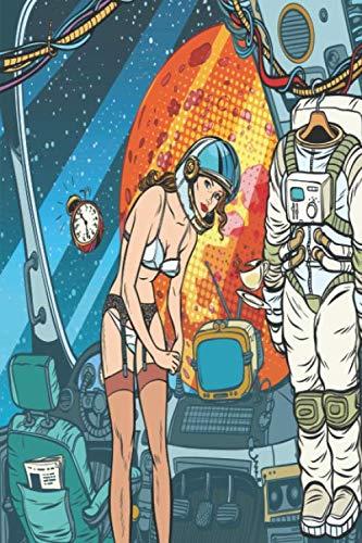 Nude Girl Astronaut: A5 dotgrid Nude Girl Astronaut  notesbook 6x9 journal notepad (Retro Nude Male)