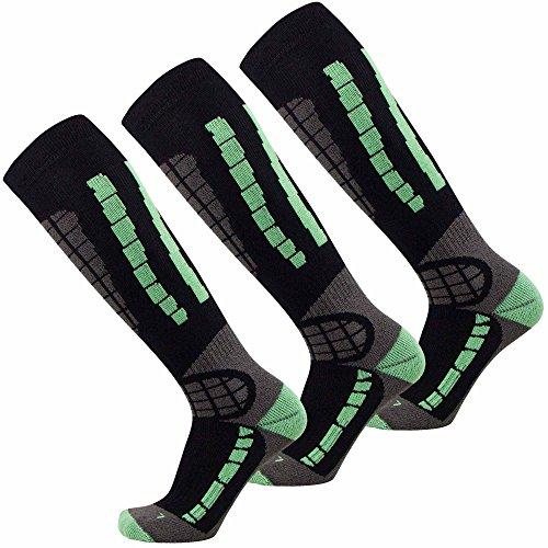 Ski Socks - Best Lightweight Warm Skiing Socks (Black/Mint Green - 3 Pack, Large / X-Large)