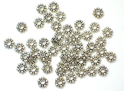 100 Piece 6mm Tibetan Daisy Flower-Shaped Bali-Style Spacer Beads Silver-Alloy (Bright Metal Findings)