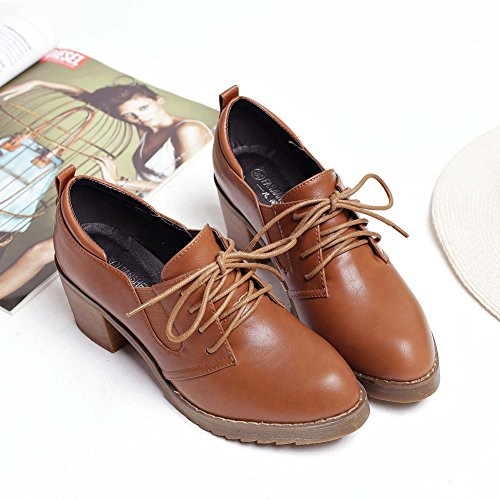 T JULY up Brogue Brown Heel Retro Western Lace Shoes Mid Shoes Elastic Oxfords Women's rr1qwF4