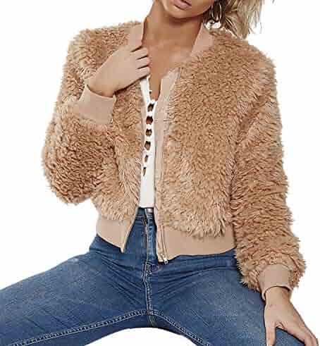 6dc5ebd694e9 D-Pink Women's Fashion Long Sleeve Lapel Zip Up Faux Shearling Shaggy Coat  Jacket with