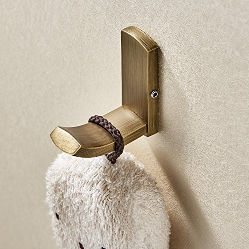 Rozin Antique Brushed Brass Robe Towel Hook Wall Mounted Coat Clothes Hanger