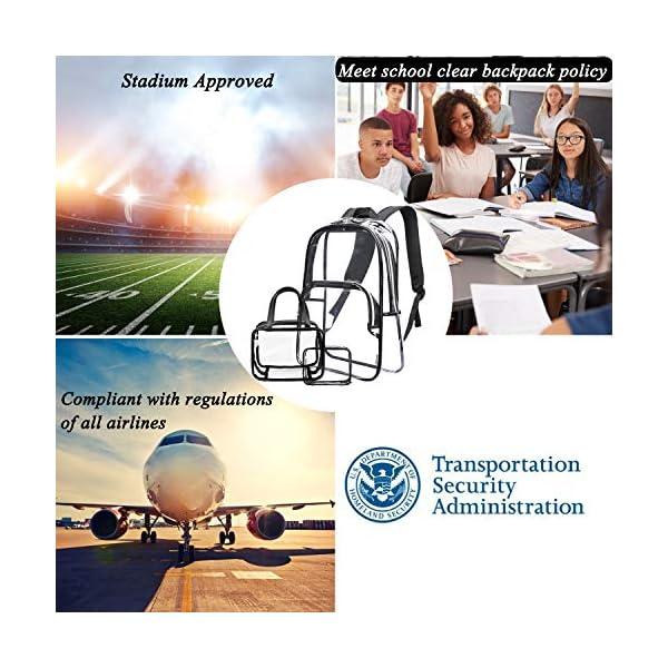 NiceEbag 6 in 1 Clear Backpack w/Cosmetic Bags Heavy Duty School Bookbag w/Pencil Case See Through Travel Daypack Stadium Approved Transparent Knapsack for Teen Girl Boy Kid Adult Women Men,Black
