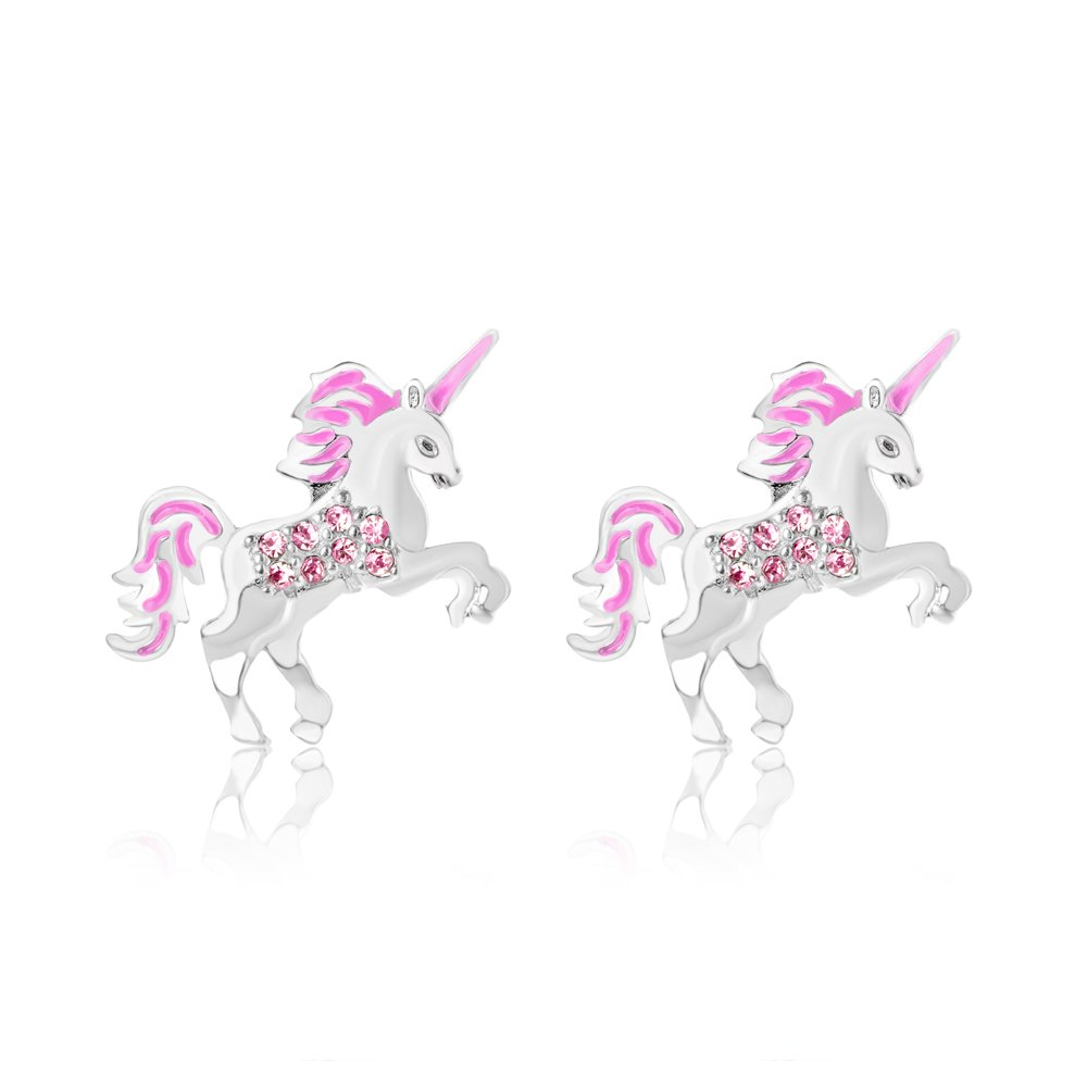 Chanteur Premium 9MM Crystal Unicorn Screwback Kids Baby Girl Teen Earrings Swarovski Elements 925 Sterling, White Gold Tone Children (Pink)