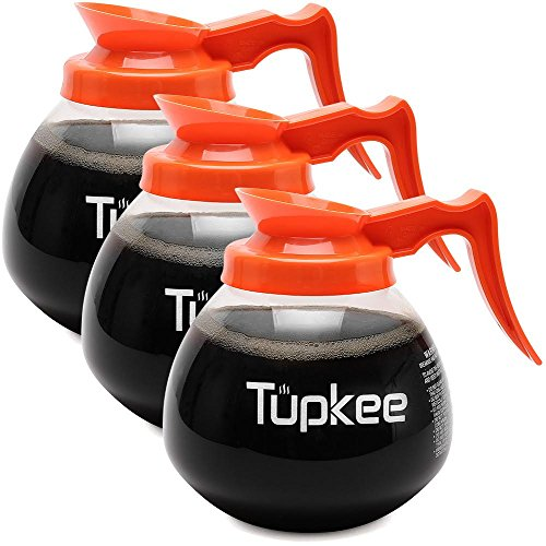 Replacement Coffee Pot Decanter Commercial - 64 oz. 12-Cup, Set of 3 Orange Handle - Decaf - Glass Coffee Pots Carafe by Tupkee