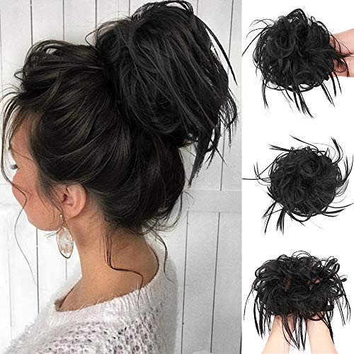 Messy Bun Hair Tousled Updo Hair Piece Scrunchies Synthetic Wavy Bun Extensions Rubber Band Elastic Scrunchie Chignon Instant Ponytail for Women