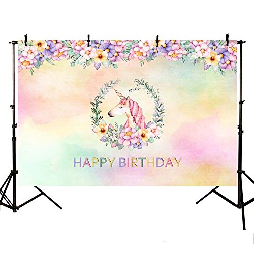 MEHOFOTO Photography Flower Backdrops Unicorn Happy Birthday Party Decoration Photo Studio Booth Background 8X6ft