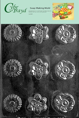 Asst Hard Candy Mold (Cybrtrayd Flower Soap Assorted Soap Mold with Exclusive Cybrtrayd Copyrighted Soap Molding Instructions)