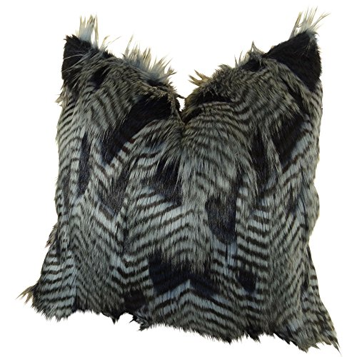 Light Blue Dark Navy Faux Fur Throw Pillow, Fancy Feather De
