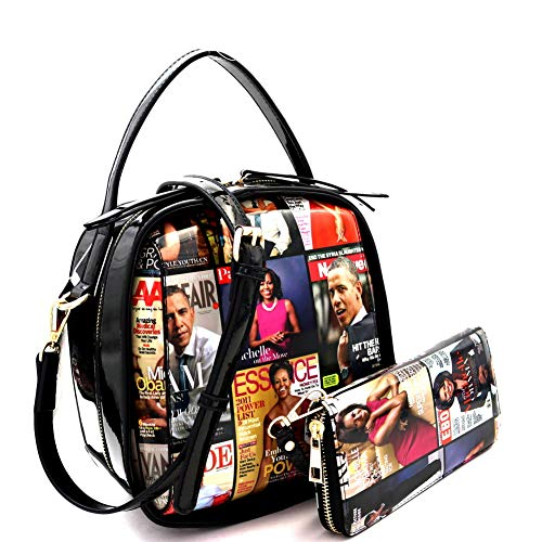 (Magazine Cover Michelle Obama Drawstring Bucket Hobo Handbag Wallet SET (Medium Boxy-Black))