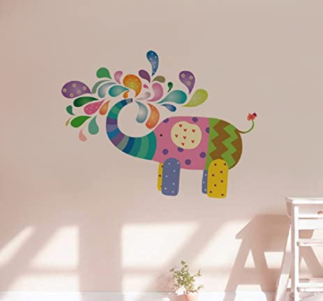 Amaonm Creative Kids Room Wall Decals Removable DIY Cute Cartoon Colorful Animals Elephant Spray Stickers