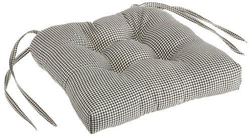 Logan Gingham Check Print Cushioned Chair Pad, Black