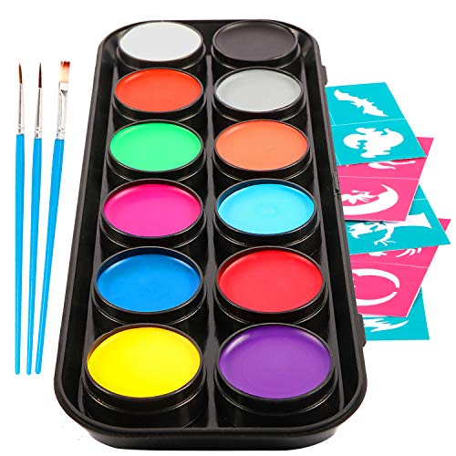 Professional Face and Body Paint Kits - Set of 12 Large Washable Paints, 3 Brushes, 30 Design Stencils Halloween Makeup Kit - Non Toxic, Water Based and FDA Compliant -