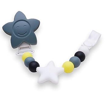 MoonLi Clip de chupete para bebés unisex, mordedor de silicona sin BPA, ideal para como regalo para lactantes y niños pequeños, incluye correa de ...