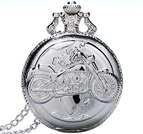 Motorcycle Silver Plated Quartz Pocket Watch 30