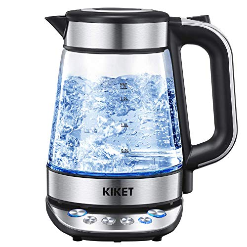 Glass Electric Kettle (BPA free), Professional Temperature Control Kettle with 120min Stay Warm Function, Sturdy Glass Made 1.7L Cordless Tea Kettle with LED Indicator, Auto off and Boil Dry Protection, KiKet