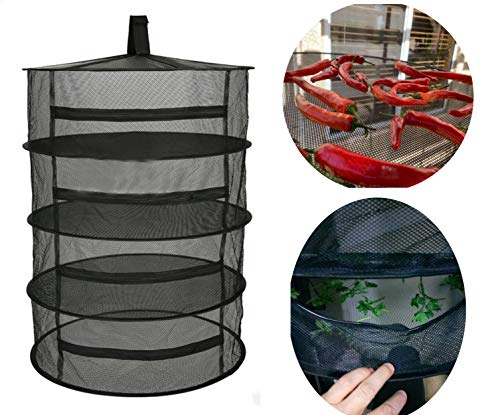 Herb Drying Rack Net Dryer 4 Layer 2ft Black W Zippers Mesh Hydroponics Mesh Collapsible Hanging Dryer Net Lights Carrying Case Indoor & Outdoor