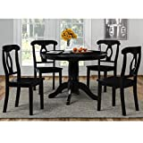 5-Piece Traditional Height Pedestal Dining Set, Black, Round Pedestal Table, 4 Napoleon-Style Chairs