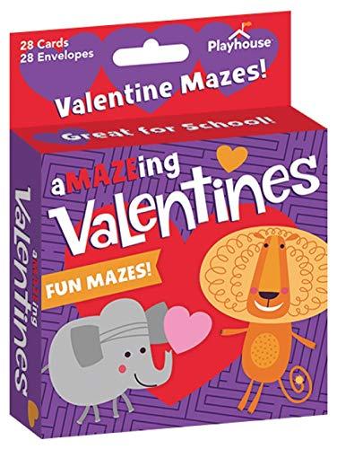 Playhouse A-Maze-ing Animals Maze Game 28 Card Valentine Exchange Box for Kids ()