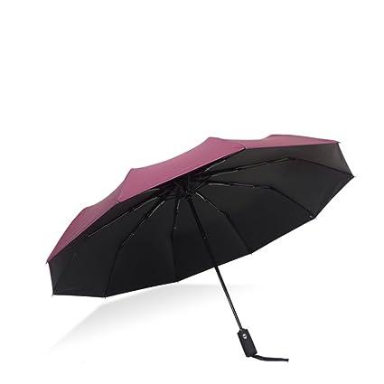 Paraguas Plegables 12 Bone Umbrella Hombre Automático Plegable Grande Reforzado a Prueba de Viento Secado Doble