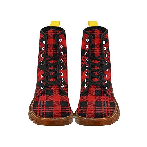 InterestPrint Lumberjack seamless pattern Print Lace Up Boots For Women dS12OEeA9z