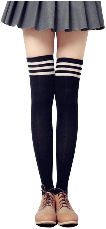 Women Triple Stripe Tube Dresses Over the Knee High Socks Anime Cosplay Cosplay Props