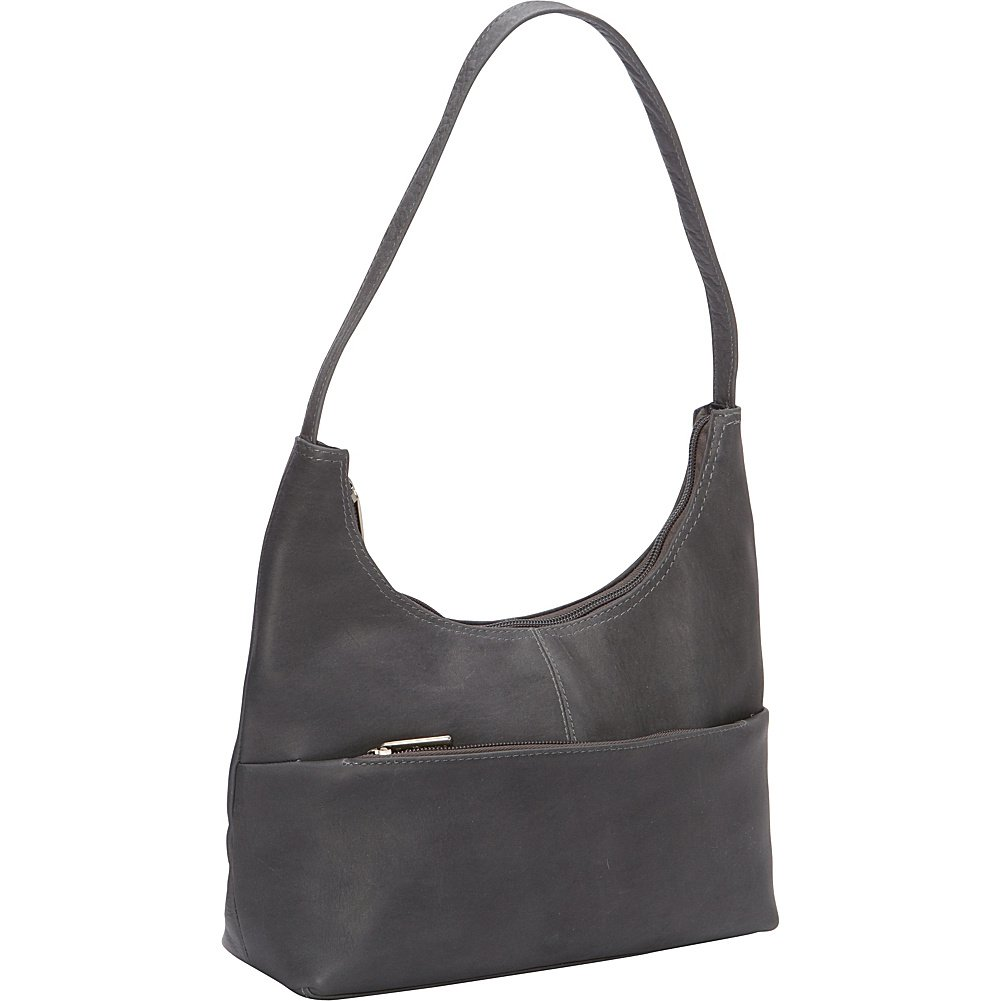 Le Donne Leather Top Zip Hobo (Gray)