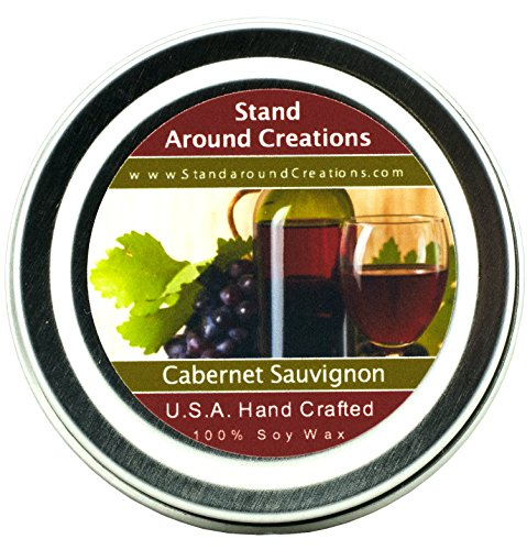 Premium 100% All Natural Soy Wax Aromatherapy Candle - 2 oz Tin- Cabernet Sauvignon Wine: The sweet aroma of wild grapes enhanced with hints of strawberries and sweet sugary notes with a light alcoholic background. A wonderful aroma of red sweet cabernet wine.