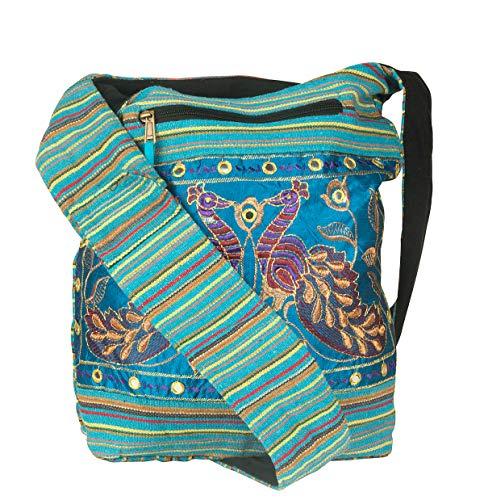 Women Hobo Shoulder Bag Peacock Messenger Casual Everyday Large Roomy School Laptop Boho Hippie Cross Body Market Thick Woven Pockets Functional (Blue)