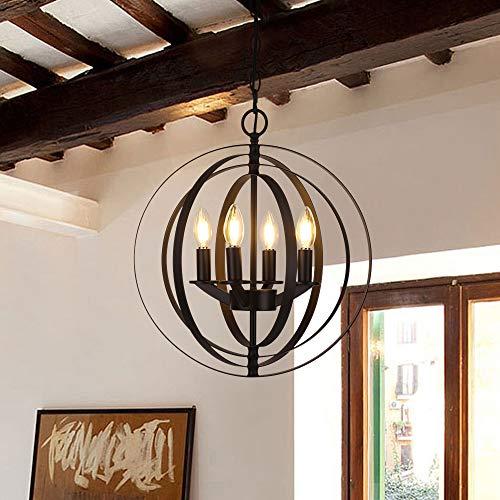 ere Chandelier 4-Rings Modern Pendant Light Painted Black [UL Listed] ()